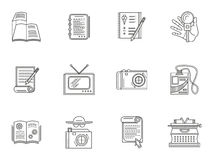 Thin line style journalism icons Royalty Free Stock Image
