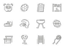 Thin line style physical culture icons Royalty Free Stock Images