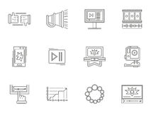 Thin line style video blogging icons Stock Photography