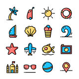 Thin line Summer icons set, vector illustration Stock Images
