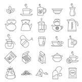 Thin line Tea vector icon set. Royalty Free Stock Photo