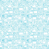 Thin Line Technology Gadgets White Seamless Pattern Royalty Free Stock Image