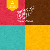 Thin Line Thanksgiving Day Holiday Patterns Set Royalty Free Stock Photos