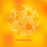 Thin Line Thanksgiving Dinner Holiday Icons Set Circle Concept Royalty Free Stock Photography