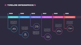 Thin line timeline minimal infographic concept with six periods. Of time. Vector template for web, presentations, reports, visualizations. Editable stroke stock illustration