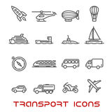 Thin line transportation icons set Royalty Free Stock Images