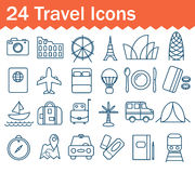 Thin line travel icons set. Outline icon Royalty Free Stock Photos