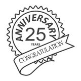 Thin line twenty fifth years anniversary icon. Simple thin line  twenty fifth years anniversary icon vector Stock Photos