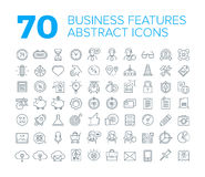 70 Thin Line Universal Business Icons. Generic abstract business line icons to outline features, strategy, organization of company, creative agency, startup Stock Photos