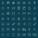Thin line universal icons set  of finance, marketing, shopping,. Internet, user interface, navigation, media,  on blue background Stock Photography