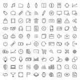 100 thin line universal icons set. Of finance, marketing, shopping, weather, internet, user interface, navigation, media,  on dark background on white Stock Images