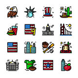 Thin line USA icons vector illustration Royalty Free Stock Image