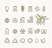Thin line vector ecological icons set. Icons for environmental, recycling, renewable energy, nature. Royalty Free Stock Photography