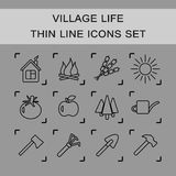 Thin line vector icons set village life. A set of 12 vector icons representing life in a village or cottage Stock Image