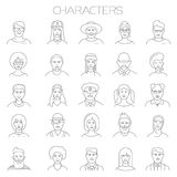 Thin line vector online people icon set.