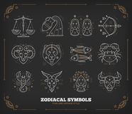 Thin line vector zodiacal symbols. Astrology, horoscope sign, graphic design elements, printing template. Vintage. Outline stroke style. Isolated on dark stock illustration