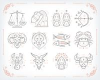 Thin line vector zodiacal symbols. Astrology, horoscope sign, graphic design elements, printing template. Vintage. Outline stroke style. Isolated on white royalty free illustration