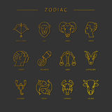 Thin line vector zodiacal symbols. Astrology, horoscope sign, graphic design elements, printing template. Zodiac Signs isolated on background stock illustration