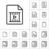 Thin line video file, play icon, different type file icons set o. N white background Stock Images