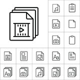 Thin line video file, play icon, different type file icons set o. N white background Stock Image
