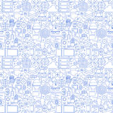 Thin Line Virtual Reality White Seamless Pattern Stock Image