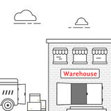 Thin line warehouse with delivery vehicle Stock Photos
