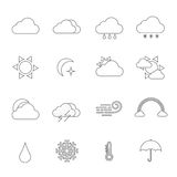 Thin line weather  icon set Royalty Free Stock Photography