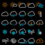 Thin line weather icon set. stock photos