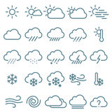 Thin line weather icon  set. Royalty Free Stock Photo