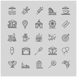 Thin line web icons - amusement park Royalty Free Stock Image