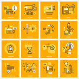 Thin line web icons of business essentials Stock Photos