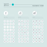 Thin line web icons collection for website and app design. Thin line web icons collection for info, business and finance, online shopping, office. Icons for web Royalty Free Stock Photos