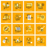 Thin line web icons of e-learning Royalty Free Stock Images