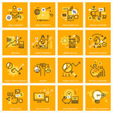 Thin line web icons of internet marketing and advertising Stock Image