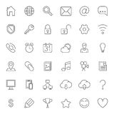 Thin Line Web Icons. Set of 36 thin line icons for web Stock Photography