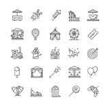 Thin line web icons set - amusement park Stock Photography