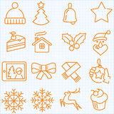 Thin line winter and Christmas time icons set Stock Photo