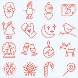 Thin line winter and Christmas time icons set Royalty Free Stock Image