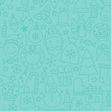 Thin Line Winter Happy New Year Seamless Blue Pattern Royalty Free Stock Photography
