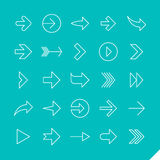 Thin linear arrows icons set royalty free illustration