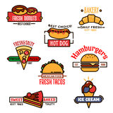 Thin linear symbols for fast food or bakery design Royalty Free Stock Photography