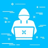 Hacker or coder icon on blue background. Thin lineart hacker or coder icon on blue background Stock Photography