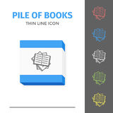 Thin lined book icon. Thin lined learning book icon. Vector isolated on white outlined sign of pile of different opened books in top view Royalty Free Stock Photography