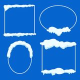 Thin Lined Frame Collection with Snow on Blue royalty free illustration