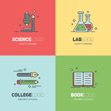 Thin lined set of logos for scientific research and education Royalty Free Stock Photo