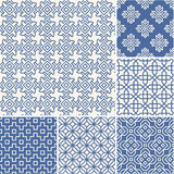 Thin lines backgrounds with simple asian patterns royalty free illustration