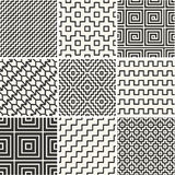 Thin lines backgrounds with simple patterns. Vector set - mono line backgrounds with simple patterns Stock Photography