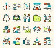 Thin lines business communication connection vector icons outline set of big data center group cloud computing system. Internet protection password access Royalty Free Stock Images