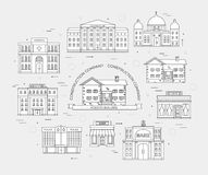 Thin lines colorful vector city buildings set. Icon background concept design. Architecture construction: courthouse Royalty Free Stock Images