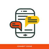 Thin lines connection icon outline of big data center group cloud computing system internet protection password access. Technical instrument vector illustration Royalty Free Stock Images